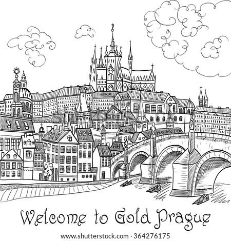 vector sketch of prague