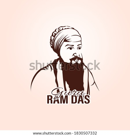 Vector Sketch of Shri Guru Ram Das ji, fourth of the ten Gurus of Sikhism. Stock foto ©