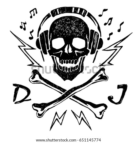vector sketch of skull with
