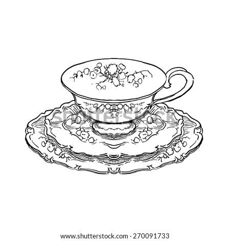 vector sketch of tea set