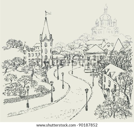 Vector Sketch of the urban landscape of the old street. St. Andrew's Church and the Castle of Richard on Andrew Descent in Kiev, Ukraine.