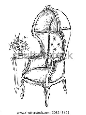 vector sketch of vintage