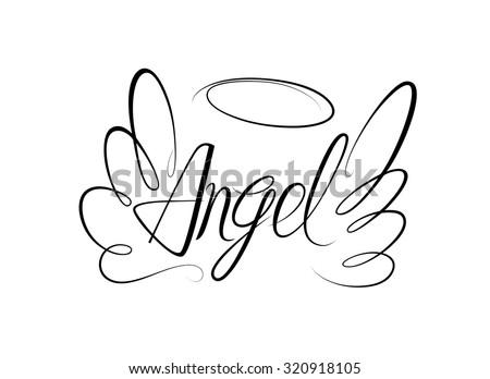 vector sketch of word angel and