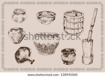 Sketch Of Kitchen Utensils : Vector Sketch Old Russian Set Of Kitchen Utensils - 128945060 ...