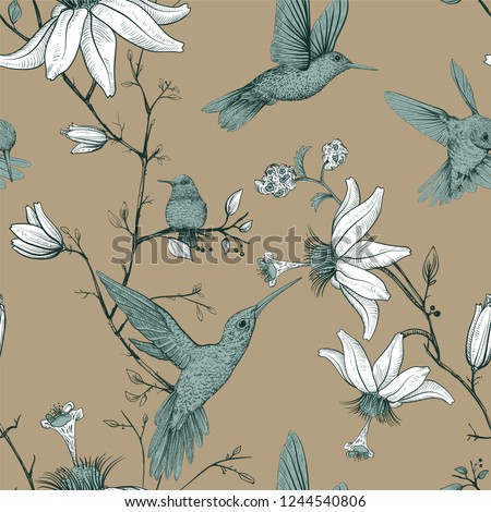 Vector sketch pattern with birds and flowers. Antique seamless pattern with drawn flowers. Floral provence wallpaper. Design for web, wrapping paper, cover, textile, fabric, wallpaper