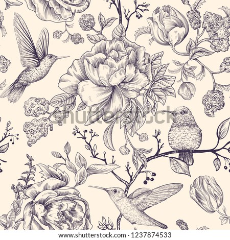 Vector sketch pattern with birds and flowers. Hummingbirds and flowers, retro style, antique backdrop. Vintage monochrome flower design for web, wrapping paper, cover, textile, fabric, wallpaper