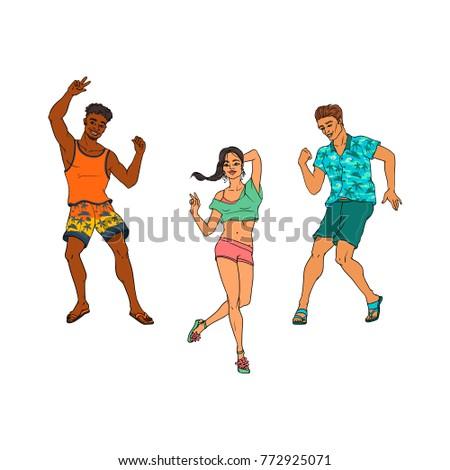 vector sketch people dancing at