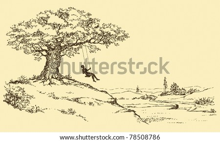 Vector Sketch. Resting man riding on a swing tied to the old oak tree growing on a hill above the river valley