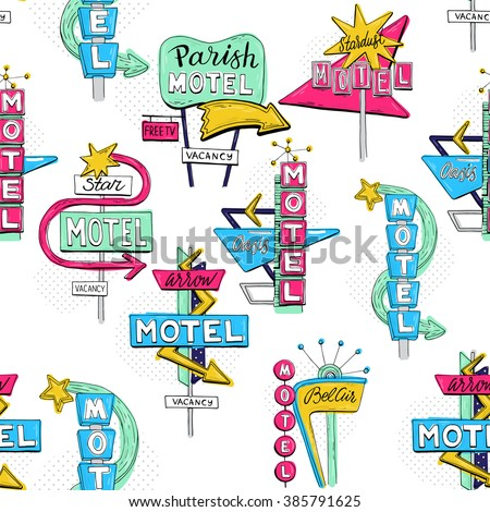 Vector sketch seamless pattern with motel sign, retro sign/pointer, vintage billboard, bright signboard, vintage neon sign,road trip, colorful old sign, American style for advertising