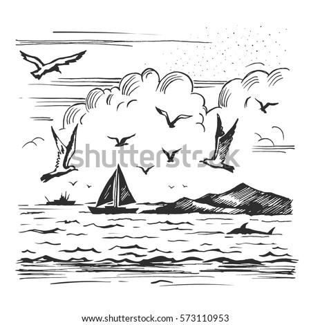 Vector sketch seascape with yachts and seagulls on the background of the shore.