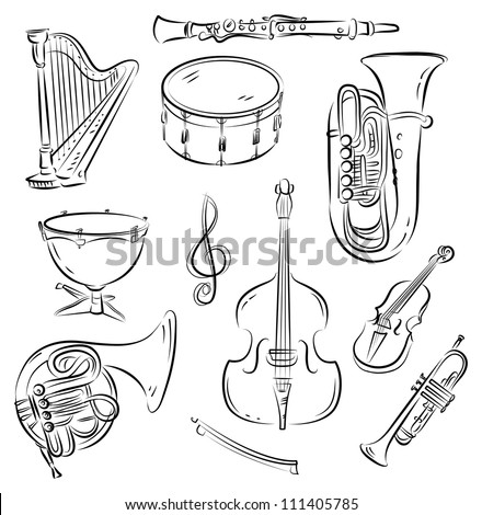 Vector sketch set of symphony orchestra musical for Orchestra coloring pages