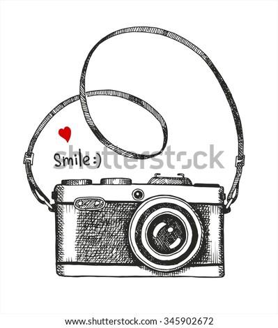 vector sketch style of retro camera