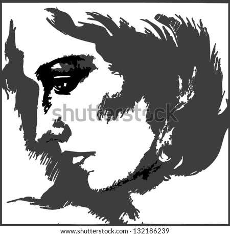 vector sketch young woman