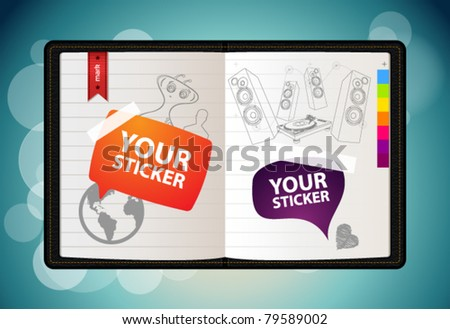 Vector sketchbook with hand draw elements