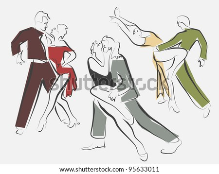 Vector sketches of dancing couples in line style.