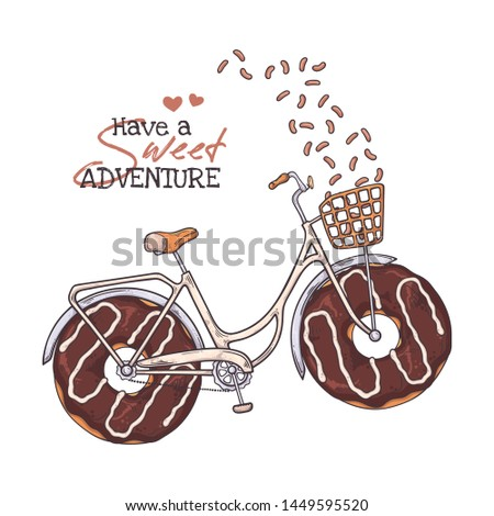 Vector sketching illustrations. Bicycle in vintage style with donuts instead of wheels. Isolated objects for your design. Each object can be changed and moved.
