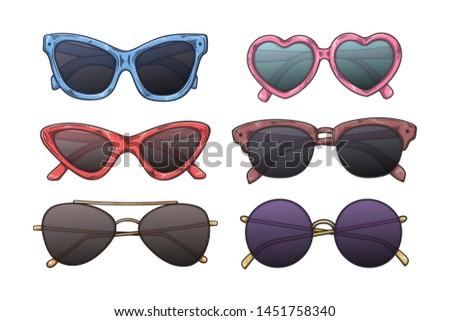 Vector sketching illustrations. Glasses in vintage style. Isolated objects for your design. Each object can be changed and moved. #1451758340
