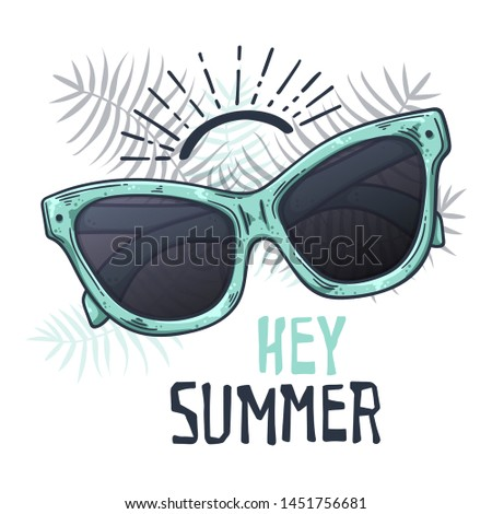Vector sketching illustrations. Glasses in vintage style. Lettering: hey summer. Isolated objects for your design. Each object can be changed and moved. #1451756681