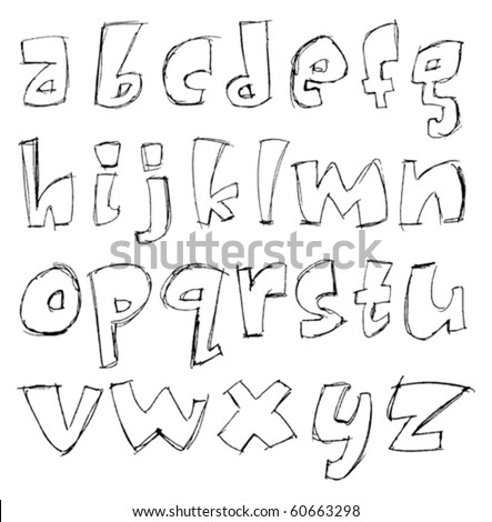 vector sketchy alphabet small letters