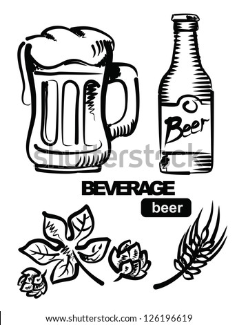 vector sketchy illustration of beer on white