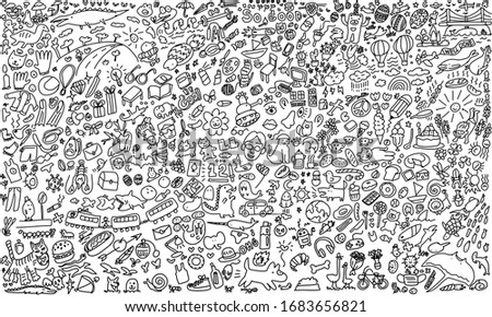 Vector sketchy line art Doodle cartoon set of objects and symbols on the fantasy world.
