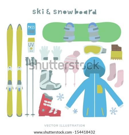 Vector Ski and Snowboard Illustration