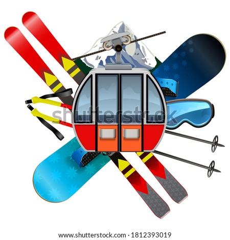 vector ski resort concept