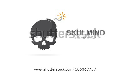 vector skull and bomb logo