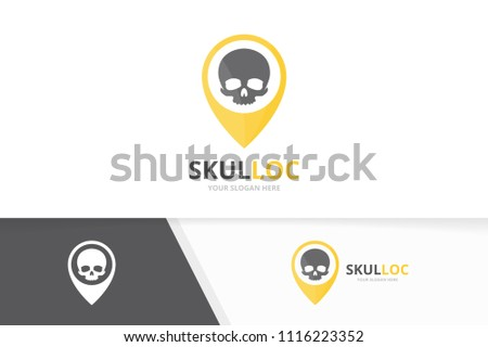 Vector skull and map pointer logo combination. Dead and gps locator symbol or icon. Unique head and pin logotype design template.