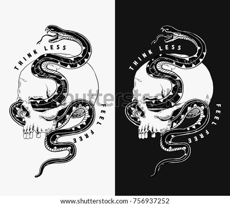 Vector skull and snake illustration for t-shirt and other uses