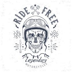 vector skull biker logo, print