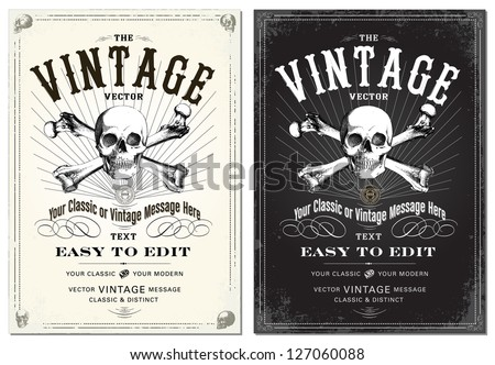 Vector Skull Frame Set Easy to edit All fonts are free fonts easy to find