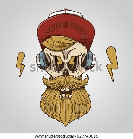 Vector skull, hipster background