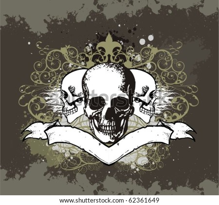 Vector Skull Illustration with Banner
