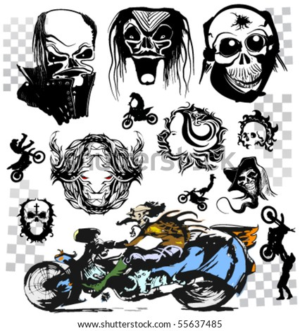 stock vector : vector skull moto tattoo collection, race silhouette set