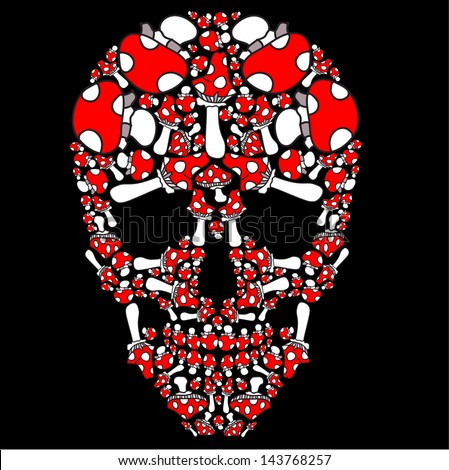 Fly Agaric Drawing Vector Skull of Fly Agaric