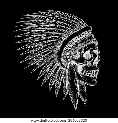 Tribal Chief Drawing Vector Skull of Indian Chief