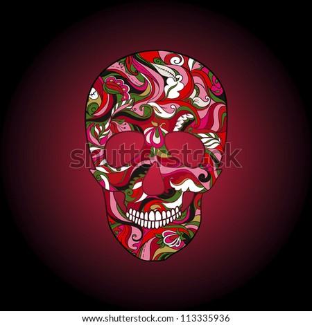 Vector Skull Ornate. Halloween. Day of the Dead.  D�a de los Muertos - stock vector