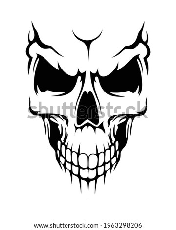 Vector skull. Stylish human skull for creating tattoos, prints and other designs. Illustration for Halloween and Day of the Dead. Black and white human skull with a lower jaw. Scary horror skull.