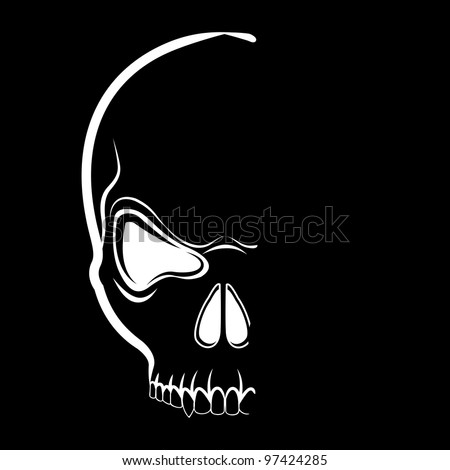 Vector skull tshirt design in shadow on the black background