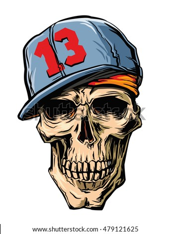 vector skull with cap on white