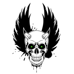 Vector skull with horns, green glowing eyes, crown wings and paint splashes in the background. Grunge vector illustration