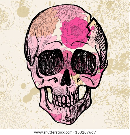 Vector skull with pink flower pattern on textured background vector skull with pink flower pattern on textured background vintage illustration mightylinksfo