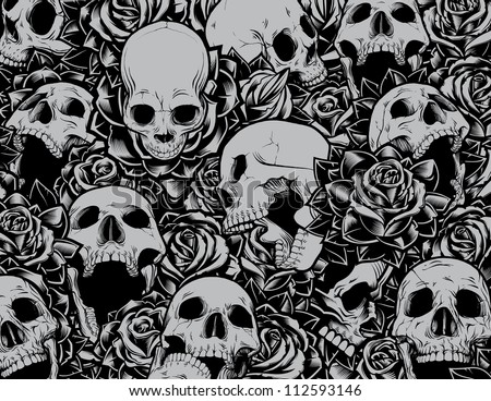 Vector Skulls and Roses Collage Background. Vector illustration with several skulls at different angles swimming in a sea of tattoo style roses. Great collection of individually grouped elements.