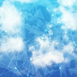 Vector Sky and Triangles Background. Futuristic Technology Background. Dots and Lines Connection. Clouds Background.