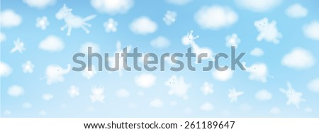 Vector sky background, cute animals cartoons.