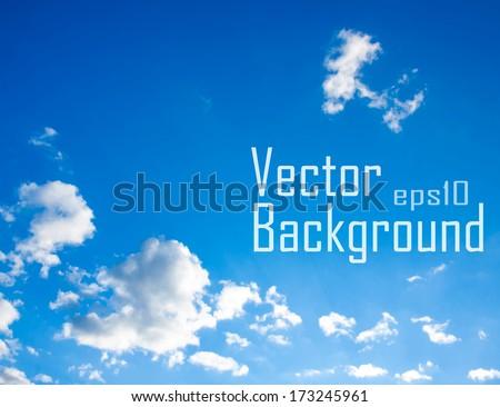 Vector sky. Blue sky with cloud closeup.