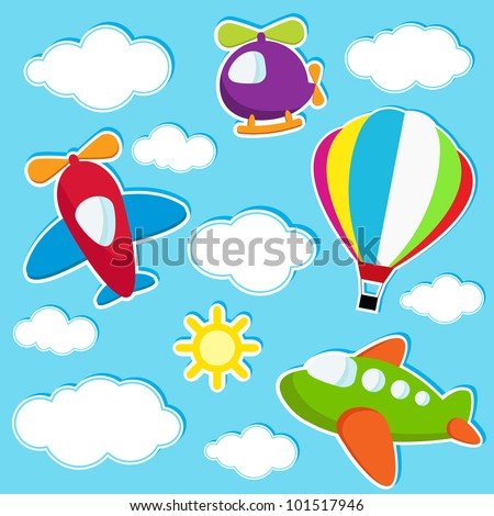 vector sky with air transport stickers