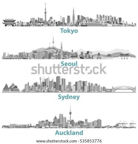 vector skylines of tokyo  seoul