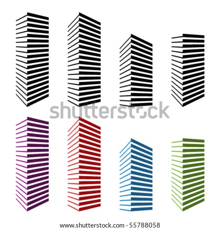 vector skyscraper symbols - stock vector